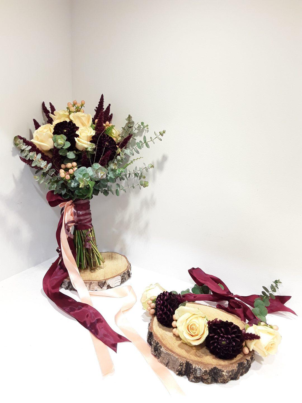 Ramo novia dahlia,rosas y amarathus