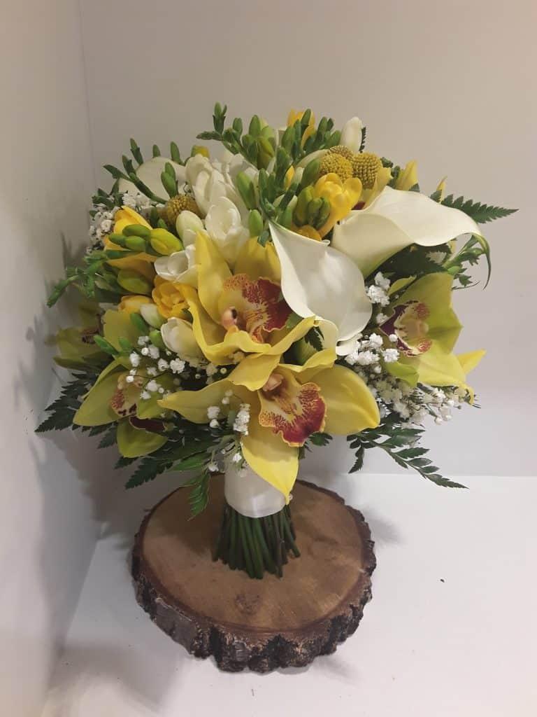 Ramo novia calas,orquideas y fresias