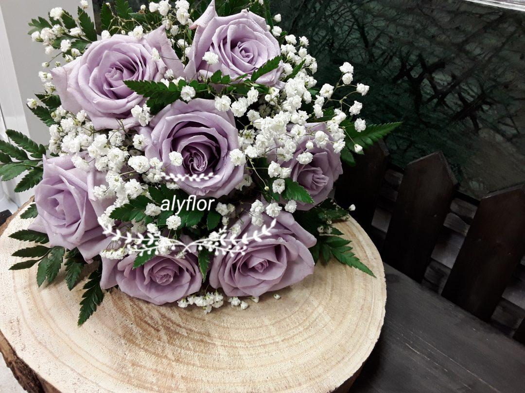 Ramo novia rosas moradas