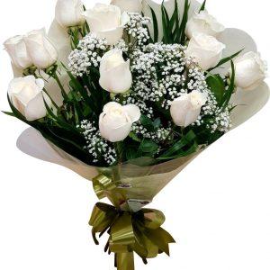 Docena rosas blancas