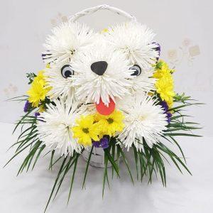 Perrito hecho con flores naturales